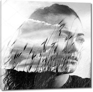 Двойной экспозиции девочка и пшеница поле черного и белого