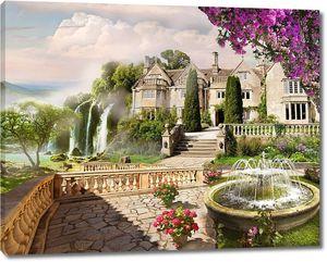 Красивый фонтан в саду перед дворцом