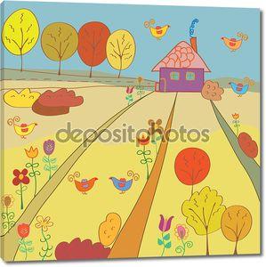 Осенью сельский пейзаж