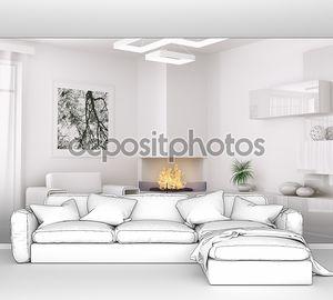 Интерьер современной белой комнате 3d визуализации