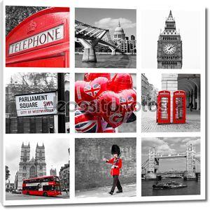Коллаж достопримечательности Лондона