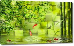 Бамбук на фоне кубов