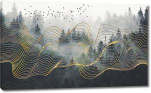 Золотая сетка над лесом