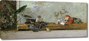 Фортуни и Марсаль Мариано. Сыновья художника, Мария Луиза и Мариано, японский класс