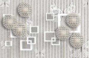 Ажурные шары и квадраты на полосатом фоне