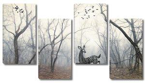 Олененок в туманном лесу