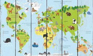 Забавный мультфильм карта мира с традиционными животными на русском языке