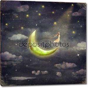 На рисунке показана девушка, кто восхищается звездного неба