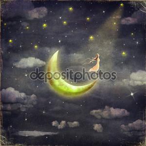 Девушка на фоне звезд