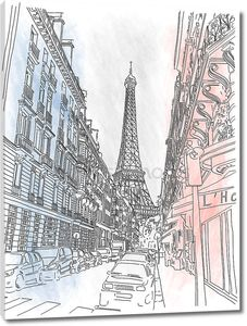 Street of the  Paris and the Eiffel Tower