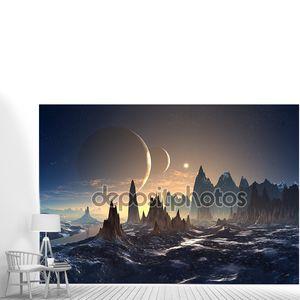 Чужая планеты с горами и лунами