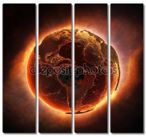 Земля, жжение после глобальной катастрофы