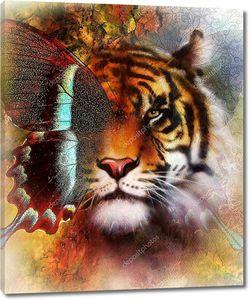 Портрет Тигра с крыльями орла и бабочки