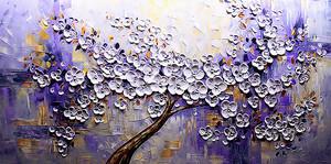 Цветущая сакура в фиолетовом цвете