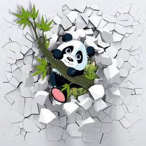 Маленькая панда, выглядывающая из сломанной стены