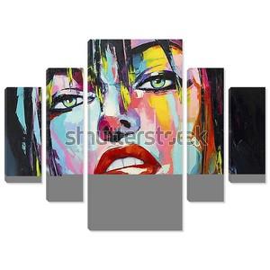Рисунок девушки разноцветными красками