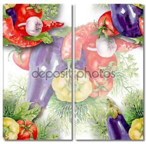 Фон с овощами акварелью