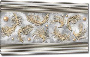 3d иллюстрация, серый полосатый фон, бежевые абстрактные перья и жемчуг