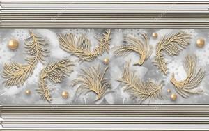 Полосатый фон, абстрактные перья и жемчуг