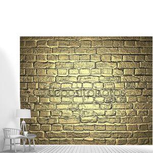 Золотой фон. кирпичная стена. шаблон оформления