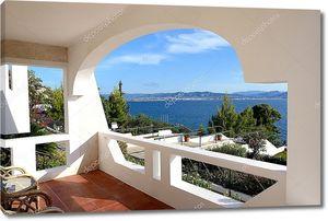 Вид на море из отеля в  Греции