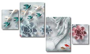 Объемные цветы с птицами и русалкой
