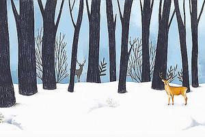 Зимний лес с оленями