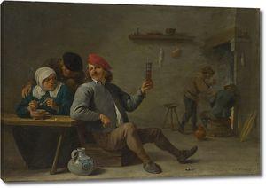 Тенрис Давид (Младший). Мужчина со стаканом и женщина , покуривающая трубку