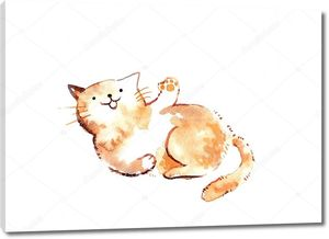 Акварельный смешной кот