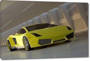 Желтый спортивный автомобиль