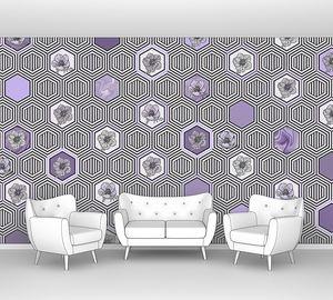 Geometrical fusion-серо-сиреневый орнамент из сот