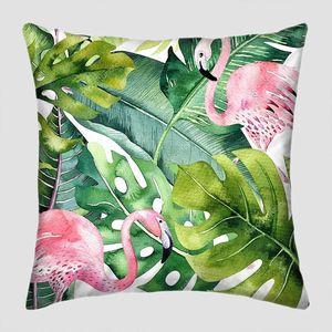 Тропические зеленые листья с фламинго