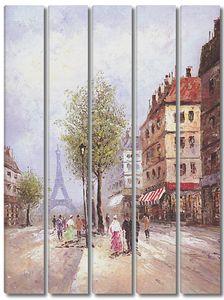 Прекрасная фреска с видом на Эйфелеву башню
