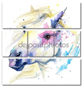 Иллюстрация лошадь с всплеск акварель текстурированном фоне.