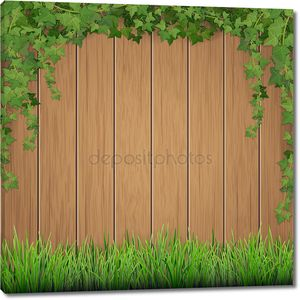 Трава и вися плющ на деревянных фоне