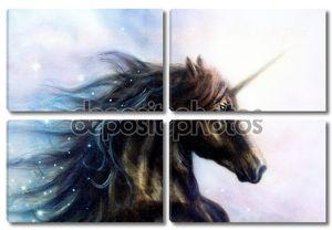 Лошадь, черный Единорог в пространстве, иллюстрации абстрактный цвет фона, профиль портрет