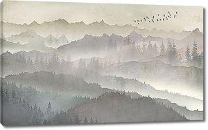 Ряды гор и лесов