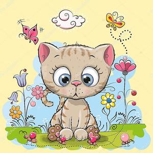 Милый мультфильм котенок