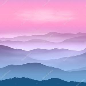 фон с горы в тумане. время заката