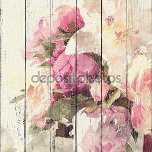 Гранж цветочный, ретро акварель