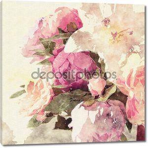 Искусство гранж цветочные теплой сепия ретро акварель фон с