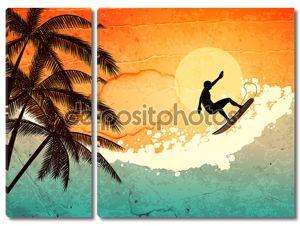 серфер, пальмы и море