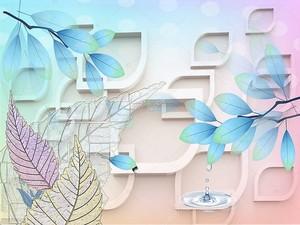 Рама в форме капли воды, красочные листья, всплеск воды