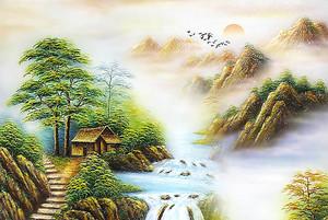 Домик у края водопада