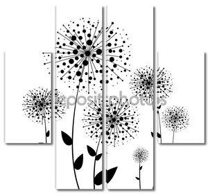 Абстрактный цветок одуванчик вектор