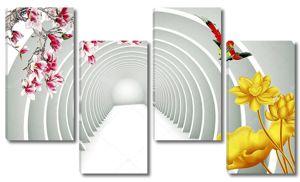 Туннель, большой жёлтый  цветок
