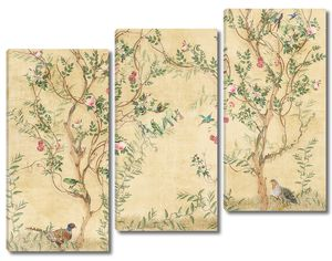 Фазаны под цветущими деревьями