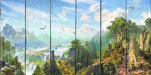 Прекрасный лес с веревочным мостом
