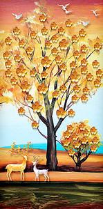Золотое дерево с оленями