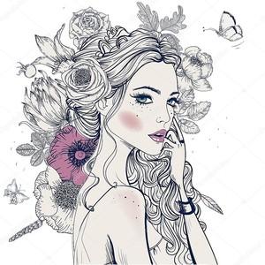 молодая красивая женщина с цветами
